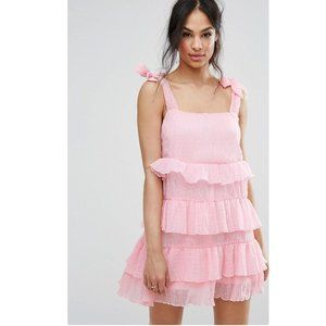 Missguided tie shoulder tiered ruffle dress